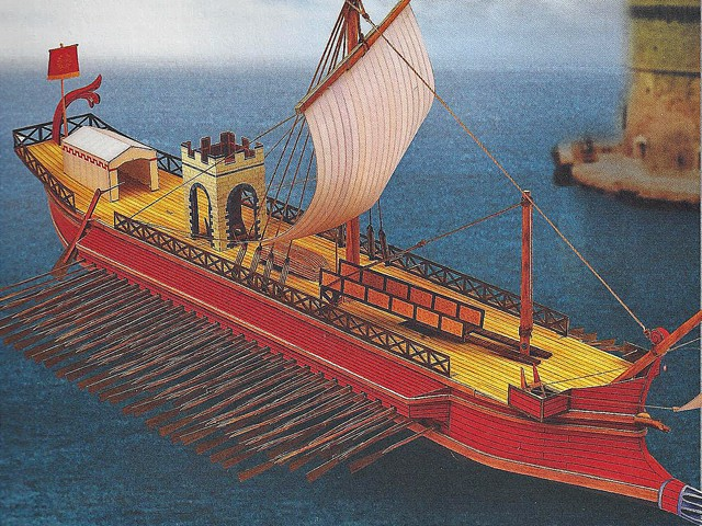 The Quinquereme, the flagship ship of the Carthaginians  Retrieved from http://www.roman-shop.com/media/catalog/product/cache/5/image/9df78eab33525d08d6e5fb8d27136e95/r/o/roman-battleship-quinquereme-template.jpg