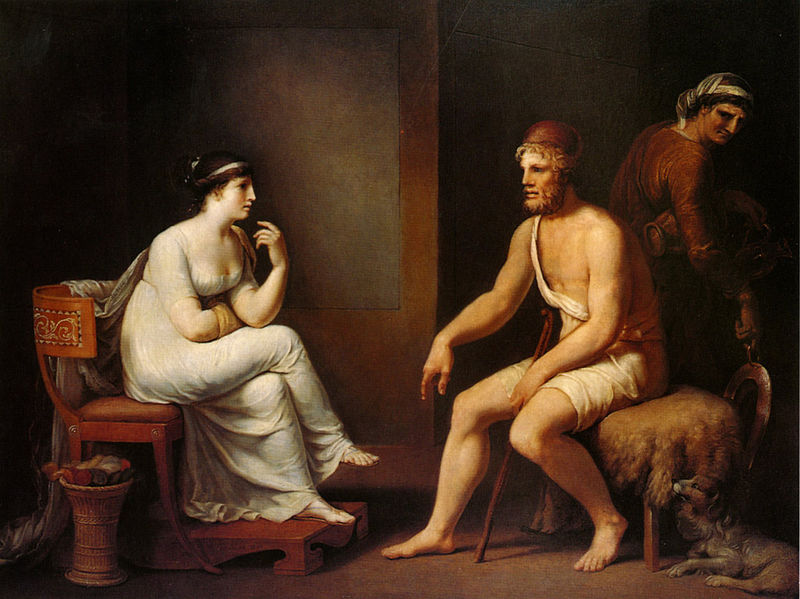Odysseus and wife Penelope.   Photographed by H. R. Wacker. By Johann Heinrich Wilhem Tischbein   [   CC   ]  . Via    Wikimedia Commons   .