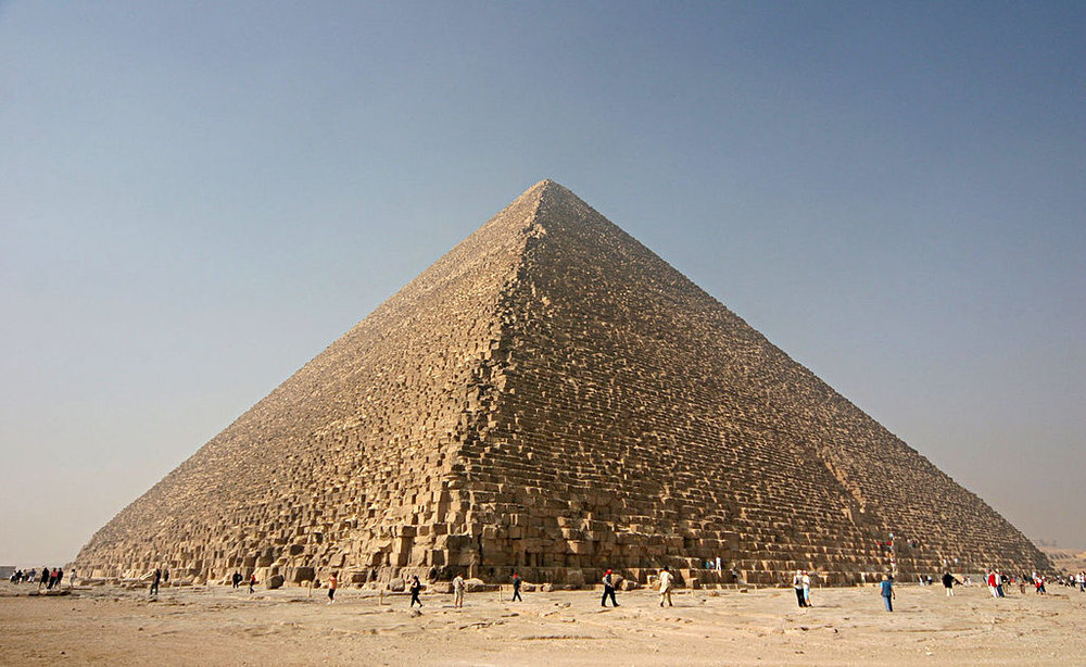 The Great Pyramids of Giza. Photo by Nina-no [CC], via Wikimedia Commons.