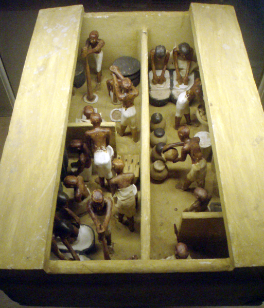 A funerary model of a bakery and brewery, dated back to the 11th dynasty. Painted and gessoed wood, originally from Thebes. By Keith Schengili-Roberts (Own work). [CC BY-SA 2.5] via WikiMedia Commons