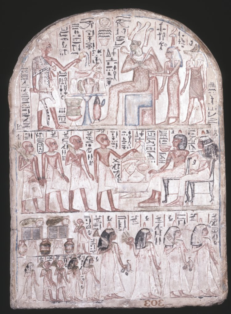 Round-topped limestone stela of Qeh, which features a hieroglyphic text that is an offering formula asking for bread and beer, flesh and fowl, water, wine and milk on behalf of the owner of the stela, the Superintendent of the storehouse for the offerings of the God Amun, Qeh. By British Museum, purchased from Giovanni Anastasi. [CC BY-NC-SA 4.0] via  British Museum Online Collection