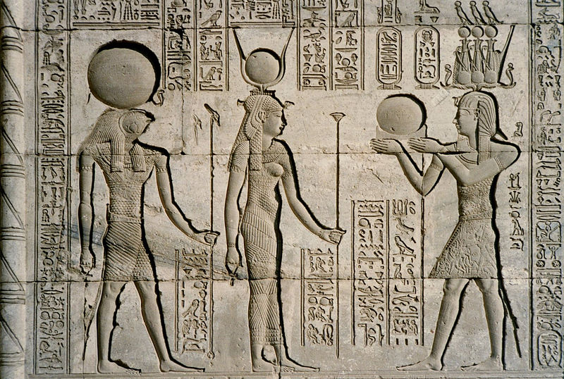 Relief at the Dendera Temple showing Traianus, Horus and Hathor. By Bernard Gagnon (Own work). [CC BY-SA 3.0] via  WikiMedia Commons