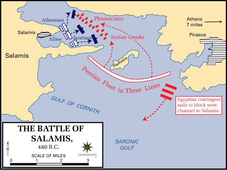 Map of [Battle of Salamis],  Wikimedia Commons