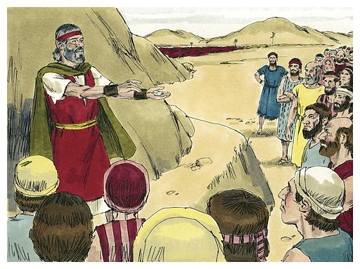 Biblical illustration of Book of Exodus Chapter 17. Biblical illustrations by Jim Padgett, courtesy of Sweet Publishing, Ft. Worth, TX, and Gospel Light, Ventura, CA. Copyright 1984. [ CC BY-SA 3.0  ], via Wikimedia Commons.