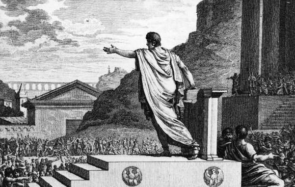 Silvestre David Mirys.  Gaius Gracchus, tribune of the people, presiding over the Plebeian council . 1 March 2014. Public domain.