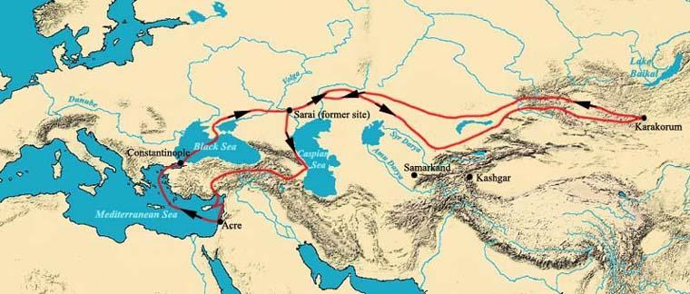 Emmanuel,  Guillaume de Rubrouck's route (1253-55)  (18 Feb 2006). Public Domain