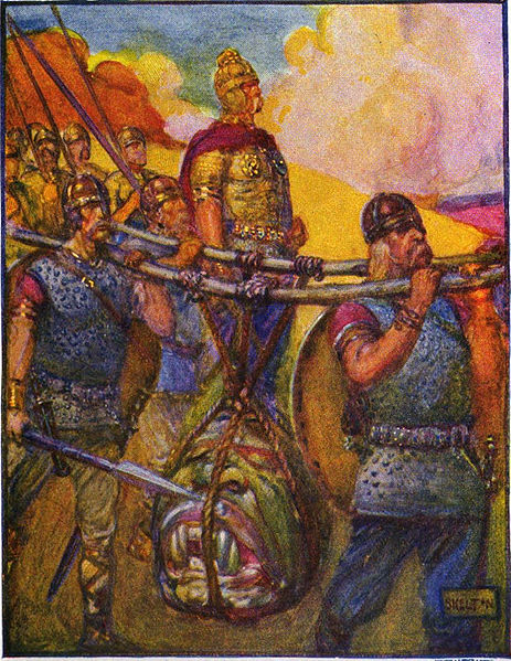 Marshall, Henrietta Elizabeth,  Four men carrying the head of Grendel  (1908). CC-PD-Mark