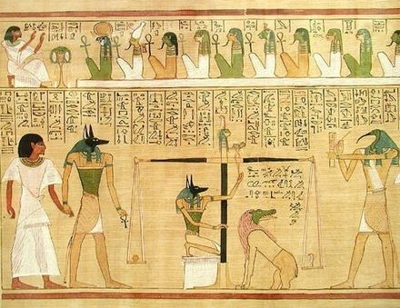 By unknown Egyptian artisan (Jon Bodsworth: photographer) (BD_Hunefer.jpg), Weighing of the heart scene with Ammit sitting, from the book of the dead of Hunefer, [Copyrighted free use], via Wikimedia Commons.