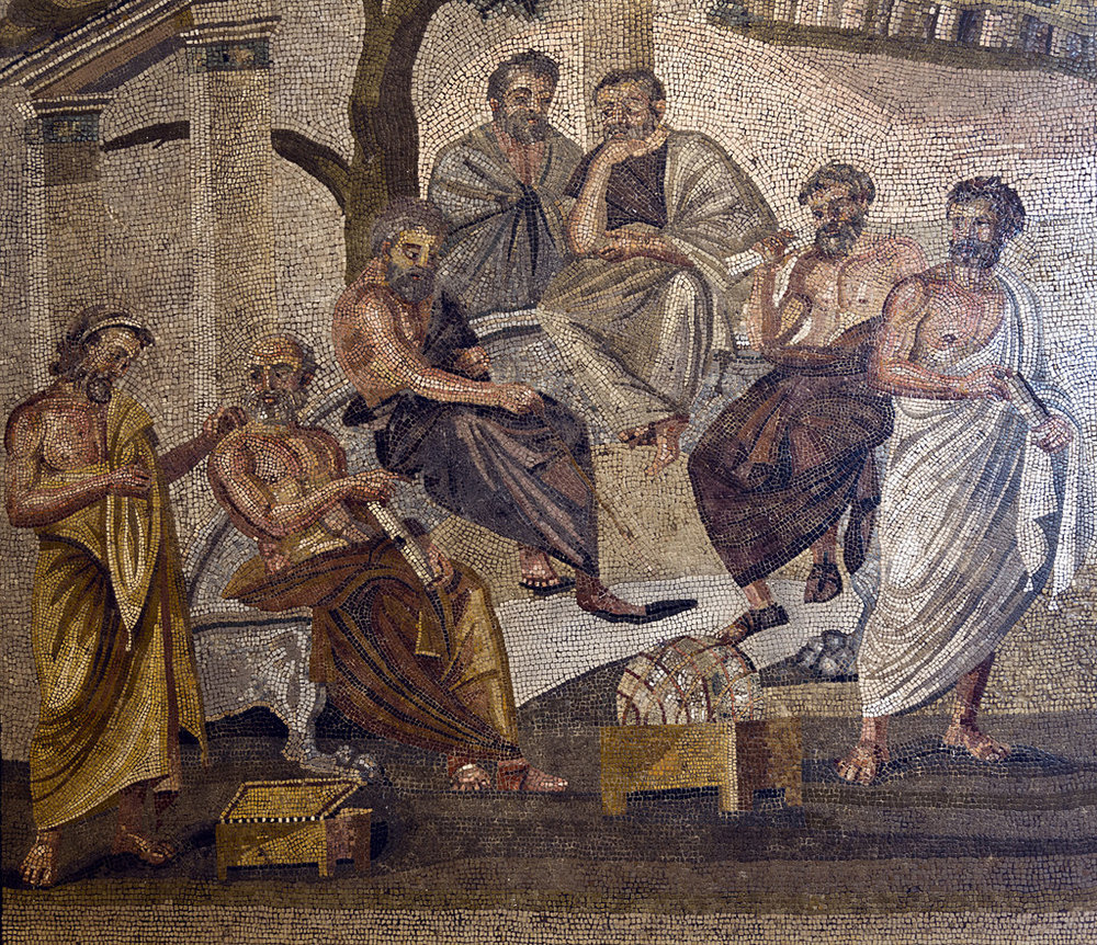 Darren Puttock ,  Mosaic of Academy of Plato discovered at Pompeii, Naples National Archaeological Museum  (25 Feb 2012). CC BY-NC-ND 2.0.