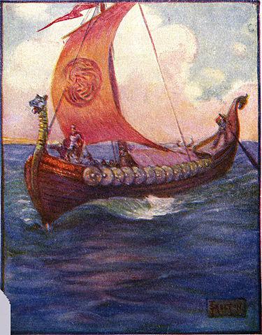 Marshall, Henrietta Elizabeth ,  Beowulf Sailing to Daneland (1 January 1908) CC-PD-Mark