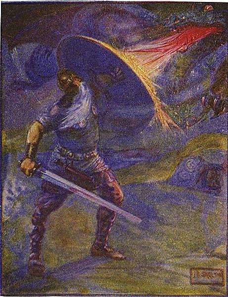 J. R. Skelton,  Illustration of Beowulf fighting the dragon  (1 Jan 1908). PD-US