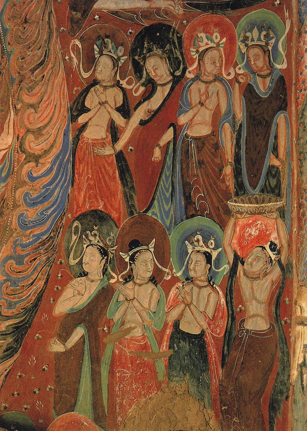 Unknown ancient Buddhist artist(s),  Cave mural of Worshiping Bodhisattva (24 February 2010). Public Domain.