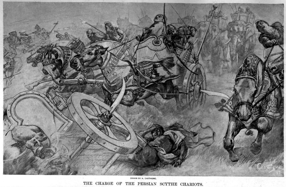 André Castaigne, The  Persian Scythe Chariot  as depicted in battle (21 Mar 2006) Public domain via Wikimedia Commons