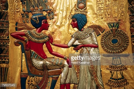 Detail showing Tutankhamen and Queen from Decorated Throne of Tutankhamen , by Reed Kaestner. (N.D). RF