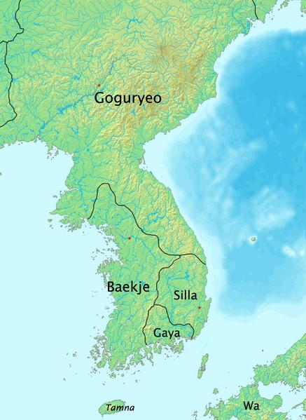Map  of the three Korean Kingdoms in the Korean Peninsula: Silla,Goguryeo and Baekje (N.D) (Public Domain)