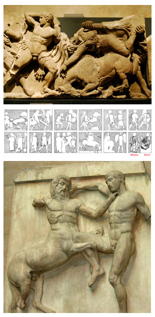 Top: Sarah Murray. Greeks fighting Amazon (West Metopes). 11 December 2016.  Attribution-ShareAlike 3.0 Unported (CC BY-SA 3.0)   Middle: Seandrak. Fall of Troy (North Metopes). 20 February 2013.  University of Oxford .  Bottom: Dschwen. Centaur fighting Lapiths (South Metopes). 11 August 2016.  Attribution-ShareAlike 3.0 Unported (CC BY-SA 3.0)