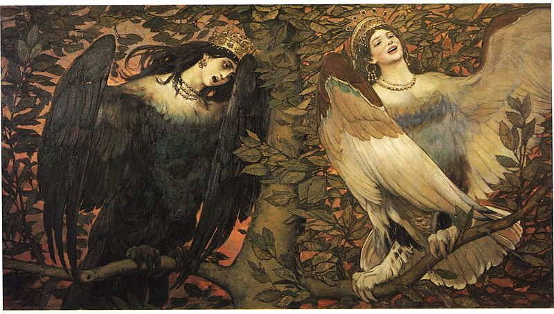 Viktor Vasnetsov.Sirin and Alkonost Birds of Joy and Sorrow. 1896. SOil on canvas 133*250 Russian Museum. Scanned from A. K. Lazuko Victor Vasnetsov, Leningrad: Khudozhnik. 1990. Public domain