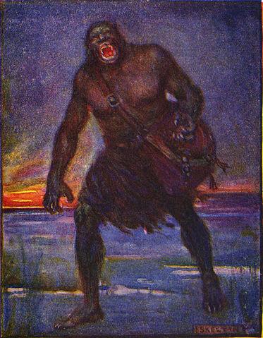 Marshall, Henrietta Elizabeth, Illustration of Grendel (1908). CC-PD-Art