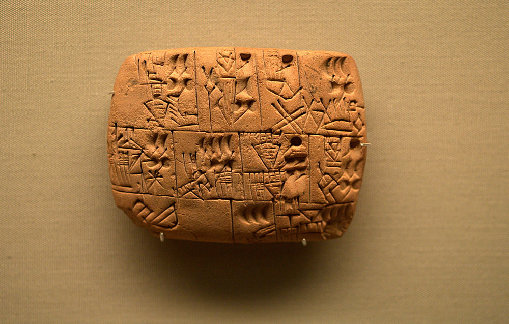 Pictographs Recording the Allocation of Beer, Southern Iraq,3100-3000 BCE. Public Domain.