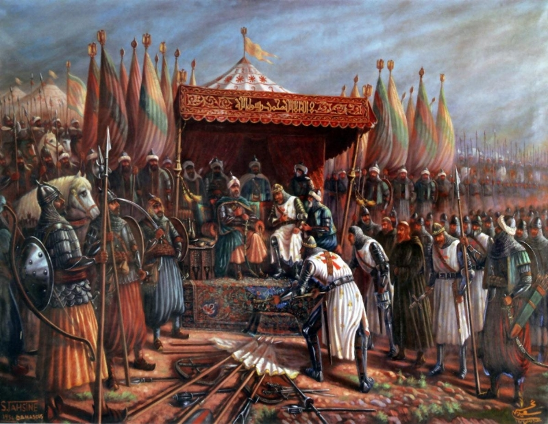 Said Tahsine, Saladin and Guy de Lusignan after battle of Hattin in 1187 (1954). Public Domain.
