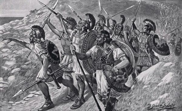 Bernard Granville Baker, Painting depicting a Heroic march of the Greek mercenaries (1901), Public domain via Wikimedia Commons
