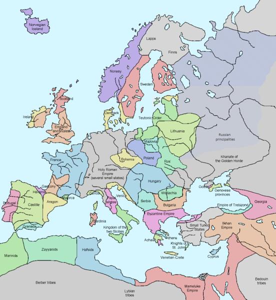 Lynn H. Nelson,  Europe in 1328 , 1328, Public Domain.
