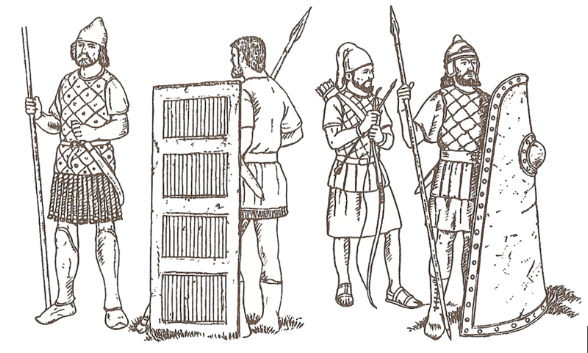 AF Marx,  Illustration of soldiers from Xerxes I army  - (Left to right) 2 Chaldean infantryman, 1 Babylonian Archer, followed by 1 Assyrian infantryman (1904), Public domain, via Wikimedia Commons