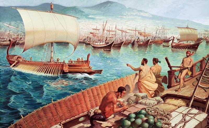 1001 Silk Roads, depicting  Greek Triremes  (23 February 2016), Public domain via Flickr