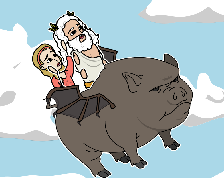Trygaeus, Heather and the Poop-Beetle making their way into the sky. Made by Chad, Fang Rong, Qing En, Thanak (April, 2017)using Storyboardthat
