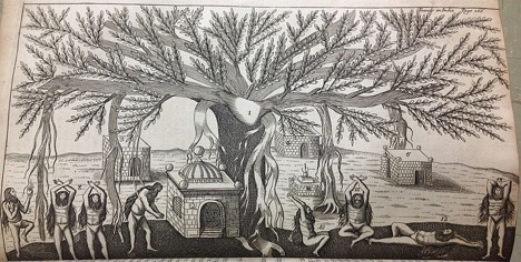 Jean-Baptiste Tavernier, Indians performing yoga asana under a Banyan tree, 7 November 2012, Public Domain
