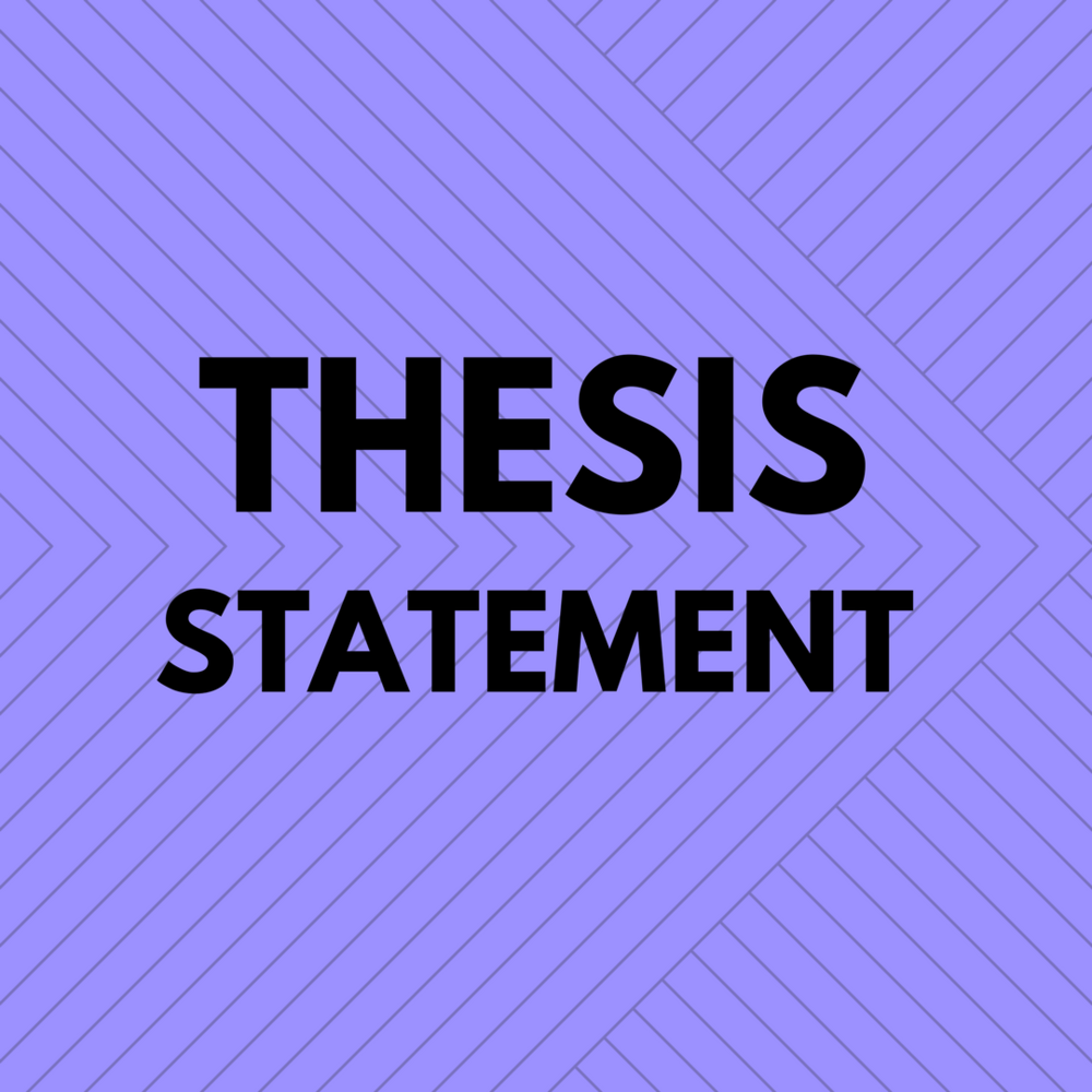 "Decorative image with text, ""Thesis Statement."" Created by Heather Bennett with  Canva ."