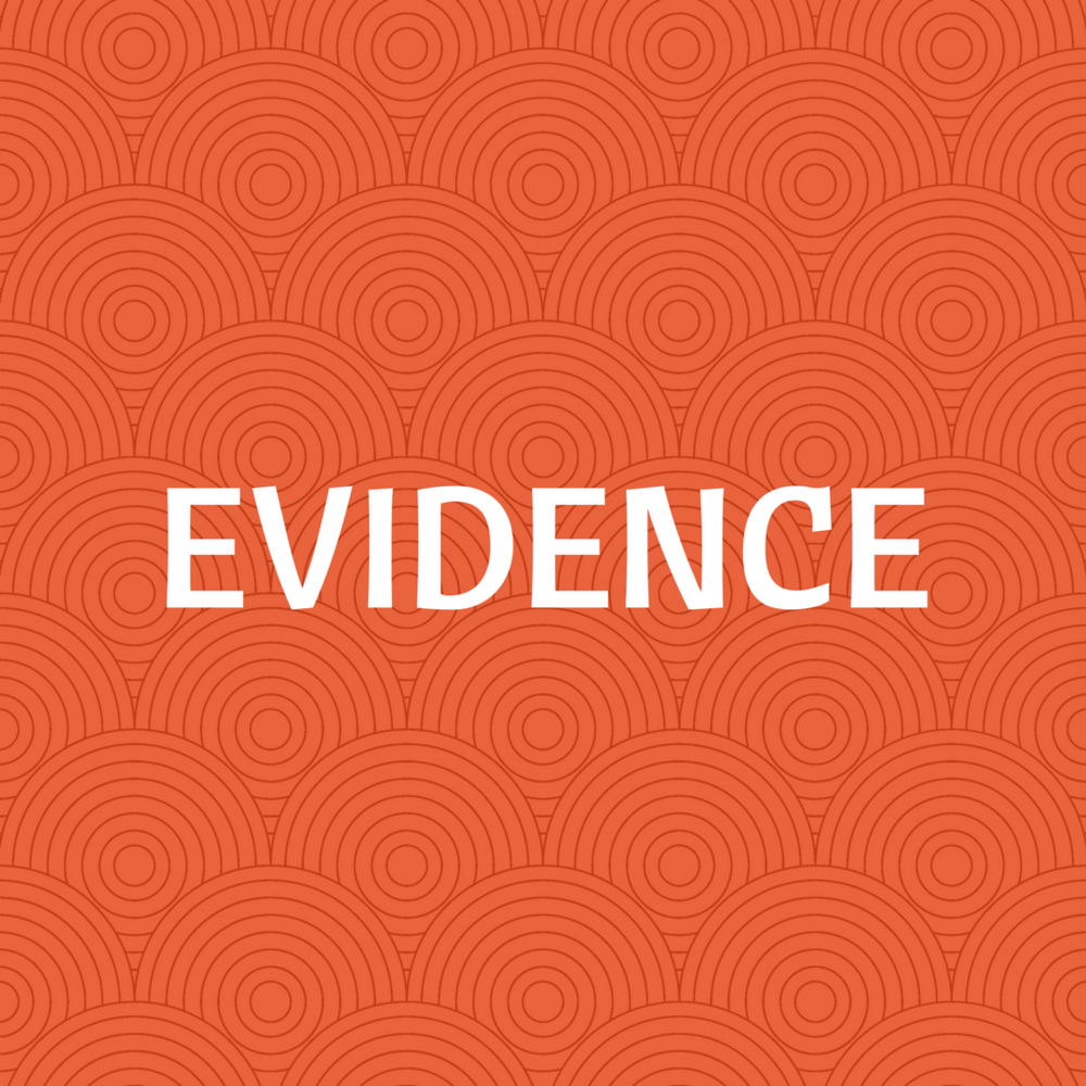 "Decorative Image with text ""Evidence."" Created by Heather Bennett with  Canva ."
