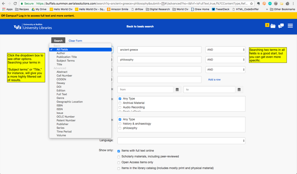A closer look at the dropdown options available in Advanced Search.