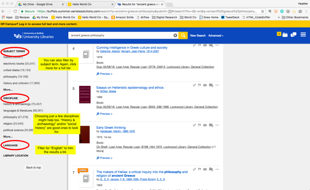 Image highlighting the Subject Terms, Discipline, and Language filters available in a search of the UB Libraries Database.