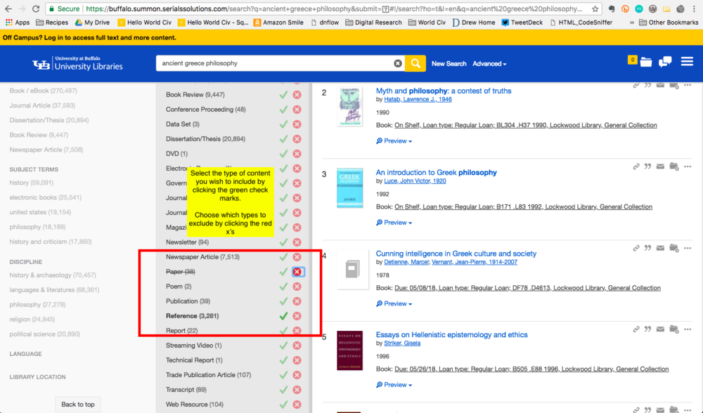 Screenshot displaying how to include some types of content by clicking the check marks + how to exclude some content types by clicking the 'x's'.