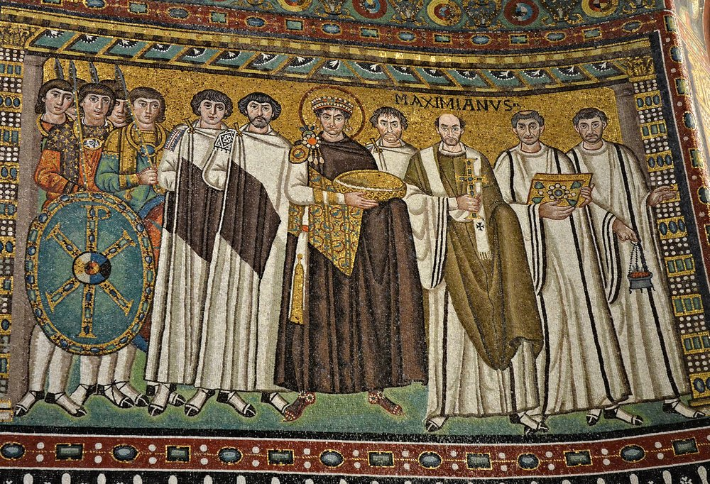 Justinian, Bishop Maximianus, and attendants.