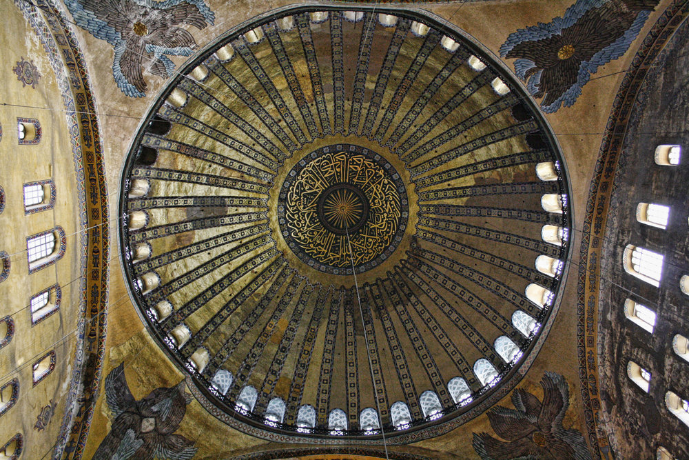 Interior of the Hagia Sophia, showcasing its iconic dome and pendentives