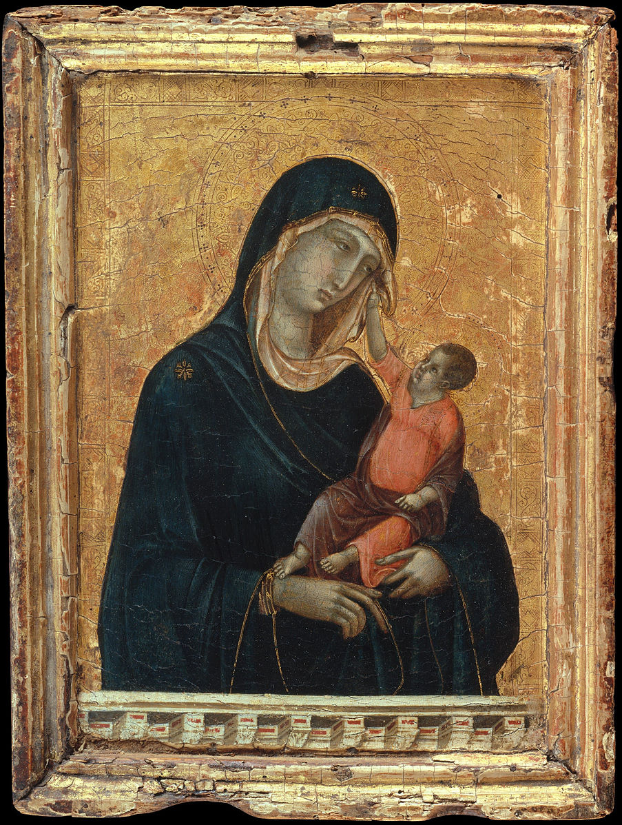 Duccio di Buoninsegna,  Madonna and Child , ca. 1300 CE. Framed painting of the Virgin Mary and Christ in her arms.