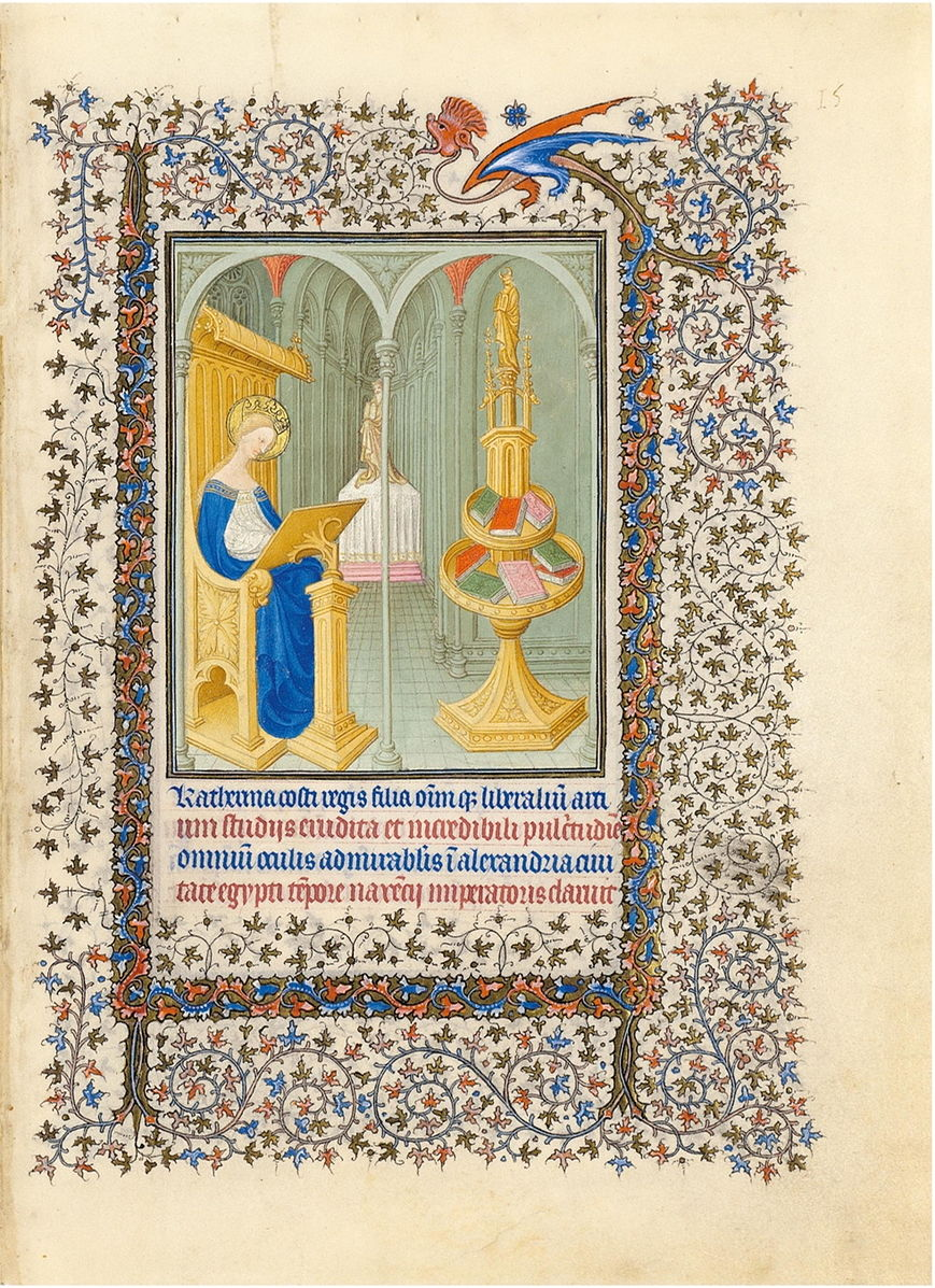 Limbourg brothers,  Saint Catherine from the Belles Heures du duc de Berry , ca. 1405-1409 CE. Saint Catherine reading in a room.