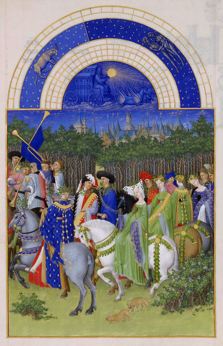 Limbourg brothers,  Très Riches Heures du duc de Berry Folio 5 verso: May , between 1412 and 1416 CE. Men and women on horses with men playing the trumpet.