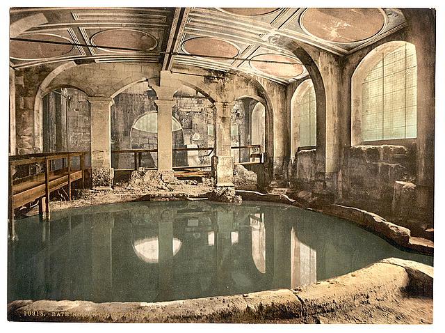 Library of Congress.  Roman Baths and Abbey, Circular Bath, Bath, England  , 1905. Picture of an indoor circular bath.