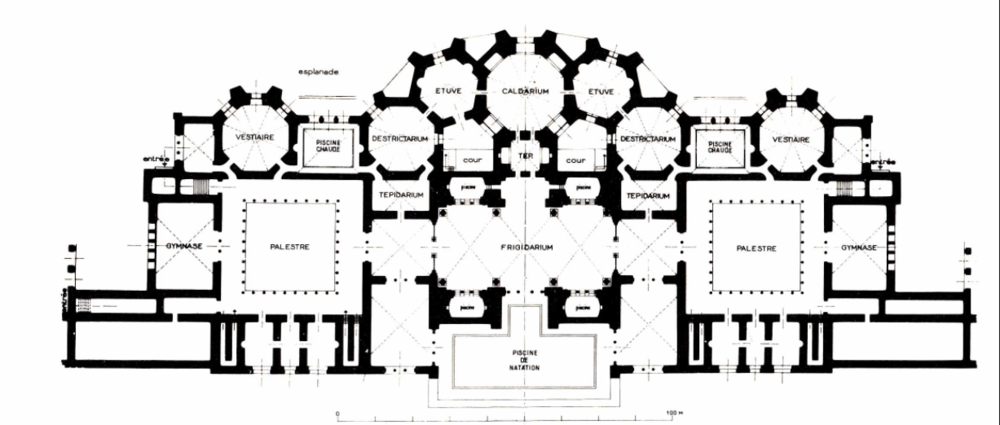 Bertrand Bouret.  Floorplan of the Baths of Antoninus of Carthage, Thermes d'Antonin de Carthage, Plan de l'étage des bains  , 2007. Floorplan of the Baths of Antoninus of Carthage, depicting a symmetrical layout of facilities such as the frigidarium, caldarium, tepidarium, gymnase, palestre, etc.