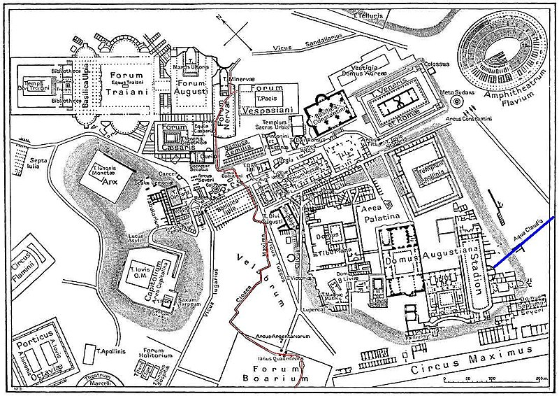 GradvMedusa,  Map of downtown Rome during the Roman Empire ,  May 2006. Map of Central Rome during the time of the Roman Empire showing Cloaca Maxima, one of the world's earliest sewage systems, in Red.