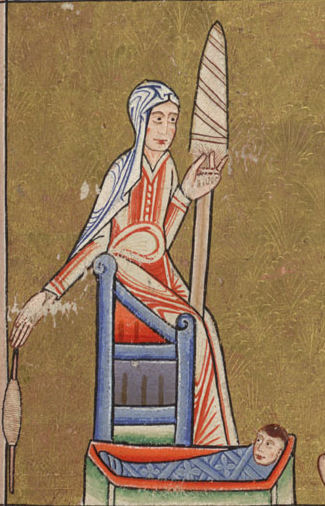 The Hunterian Psalter.  Eve Spinning . (c. 1170) A woman spinning by hand while sitting next to a baby in a cradle.