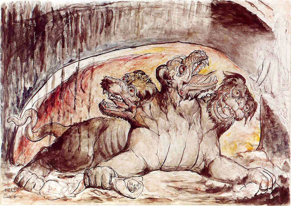 Depiction of Cerberus guarding the underworld. Three headed hound in a cave. -