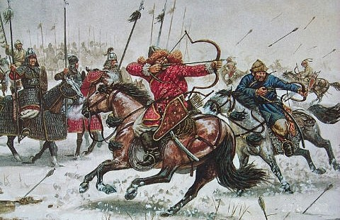 """Mongolian warrior on an armoured horse, using a """"recurved bow"""", also known as the legendary bow of history."""