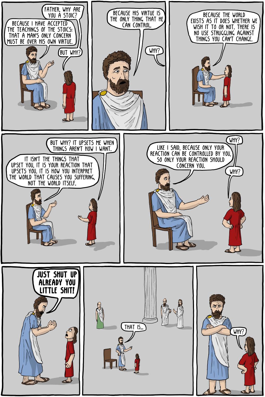 Corey Mohler,  Existential Comics , n.d., Public Domain   A lesson in Stoicism from Marcus Aurelius