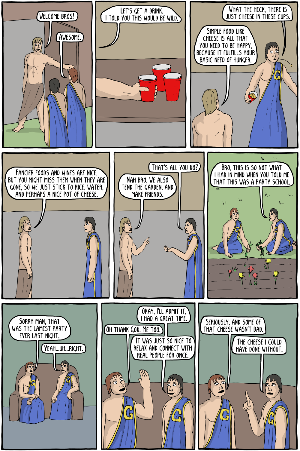 Corey Mohler,  Existential Comics , n.d., Public Domain    Imagine if Epicurus was at a party