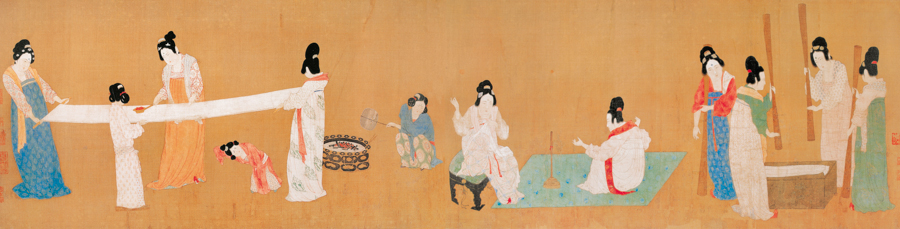 Global China Insights,  Court ladies preparing newly woven silk, early 12th century.