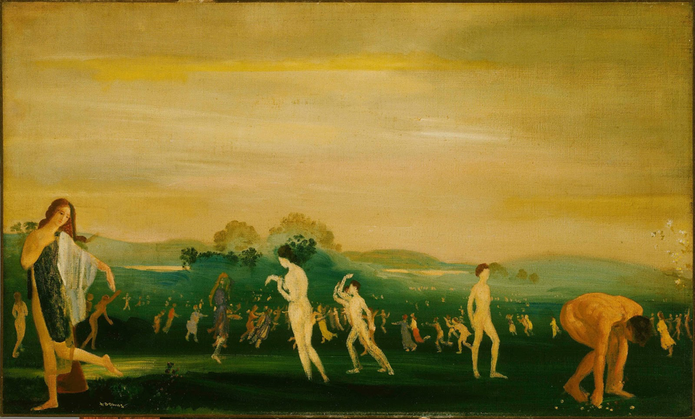 Depiction of Elysium by Arthur Bowen Davies. People wandering around a luscious field against the backdrop of peaceful skies.
